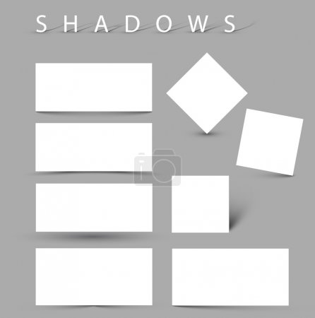 Illustration for Set of vector shadow effects - white cards with realistic shadows - Royalty Free Image