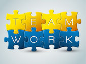 Vector puzzle teamwork illustration