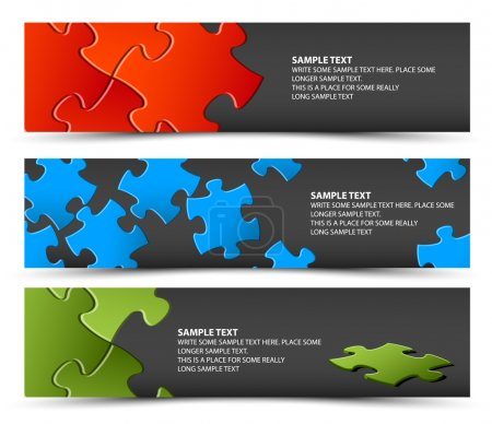 Set of dark puzzle horizontal banners