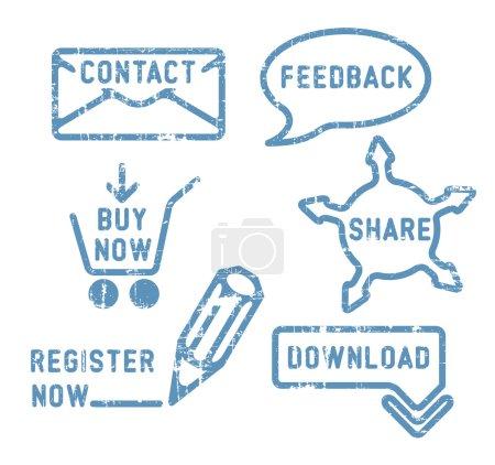 Illustration pour Contact vecteur bleu simple, commentaires, partager, acheter, télécharger, s'inscrire timbres - image libre de droit
