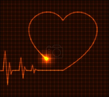 Illustration for Abstract heart cardiogram illustration - red vector - Royalty Free Image