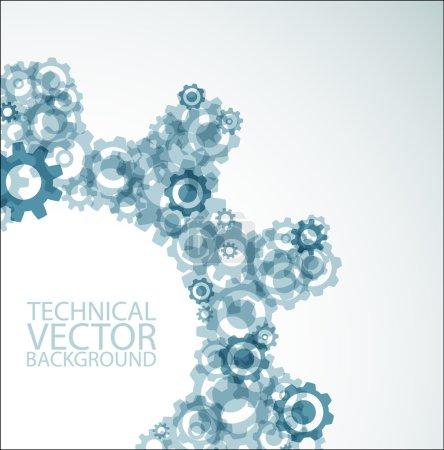 Illustration pour Fond technique vectoriel fabriqué à partir de différentes roues dentées - image libre de droit