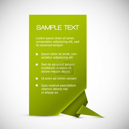 Vector Green card with origami corner