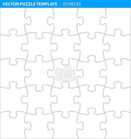 Illustration for Complete puzzle, jigsaw template for print (25 pieces) - Royalty Free Image