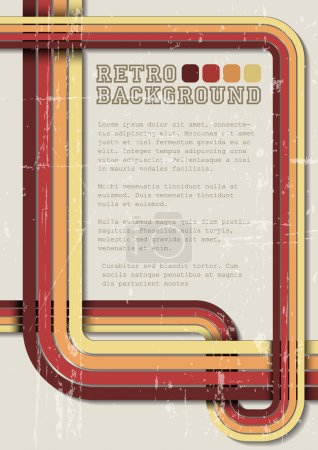 Vector retro background, template with stripes