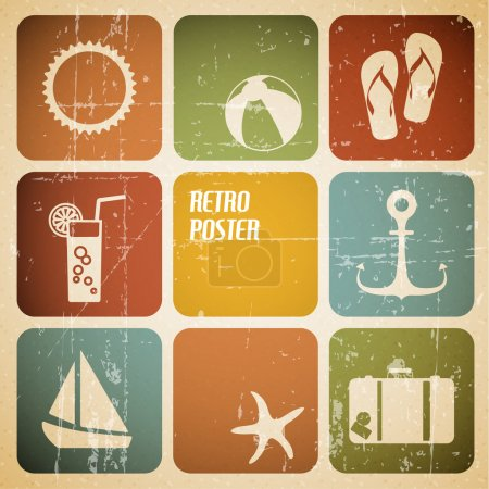 Illustration for Vector summer poster made from icons - retro color version - Royalty Free Image