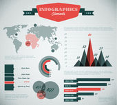Teal and red Vector retro - vintage set of Infographic elements