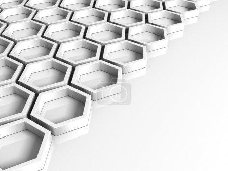 Photo pour Fond blanc abstrait avec des figures géométriques hexagonales - image libre de droit