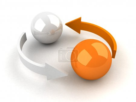 Abstract business exchange concept with balls and ...