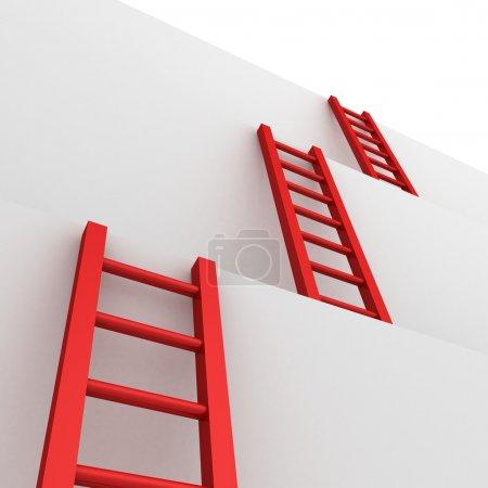 Ladders of success business teamwork