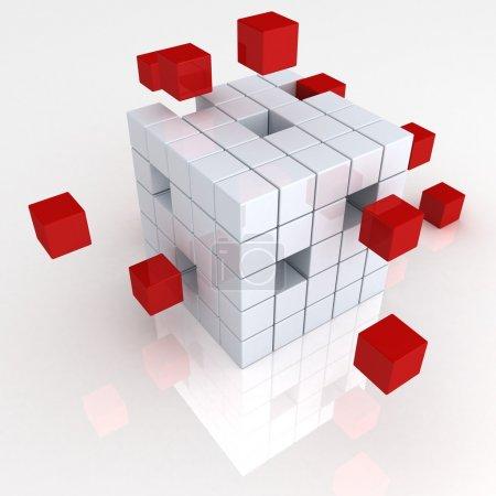 Photo pour Travail d'équipe concept abstrait d'entreprise avec cubes rouges - image libre de droit