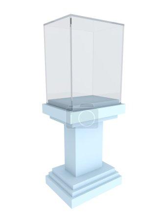 Empty glass showcase on blue podium