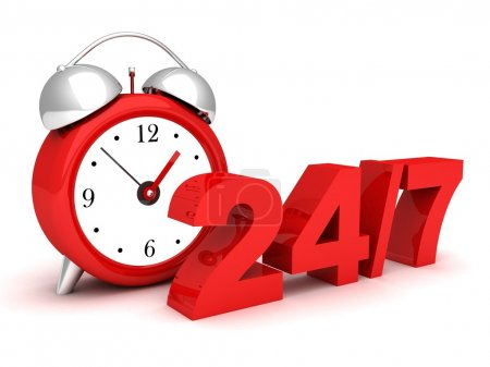 Red alarm clock with the numbers 24 and 7. concept of full availability
