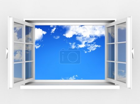 Open window against a white wall and the cloudy sky