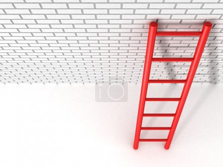 Red ladder leans against a brick wall