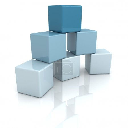 Photo for Blue building blocks or cubes on white background - Royalty Free Image