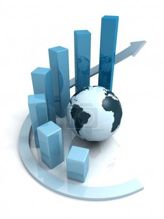 Photo pour Croissance mondiale des entreprises graphique à barres bleues avec flèche - image libre de droit
