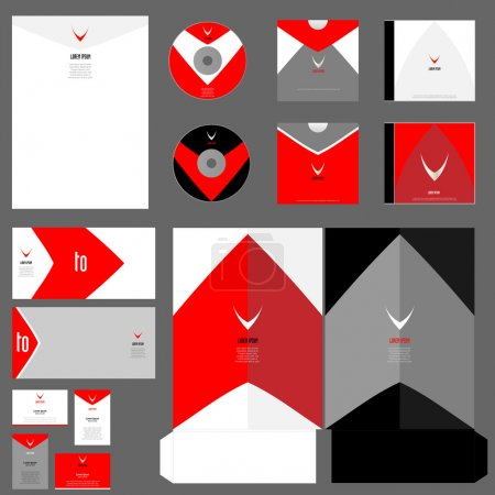 Illustration for Abstract vector editable corporate Identity set of the red colour - Royalty Free Image