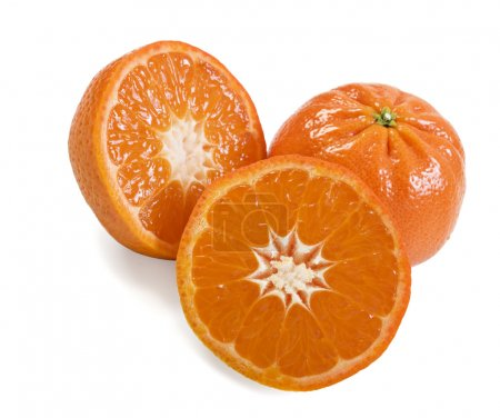 Photo for Fresh healthy mandarin citrus fruit on white background - Royalty Free Image