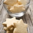 Sugar coated shortbread cookies in star shapes sta...