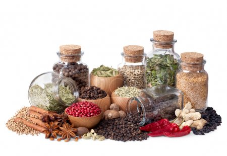 Still life of different spices and herbs