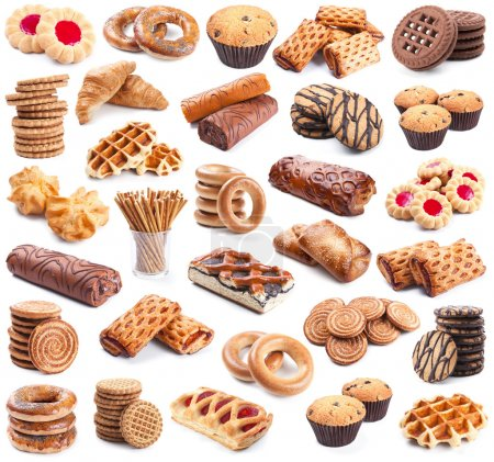 Photo for Pastry collection isolated on white background - Royalty Free Image