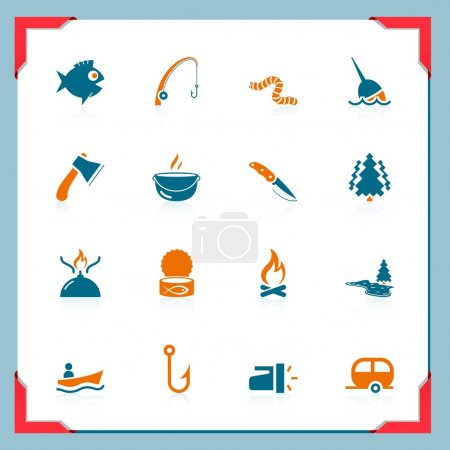 Fishing and hunting icons | In a frame series