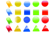 Collection of brightly colored, glossy web elements. Perfect for