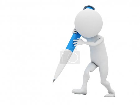 3d man with blue crayon isolated on white