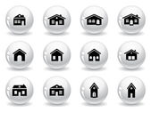 Web buttons house and buildings icons