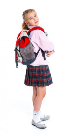 Little blond school girl with backpack bag