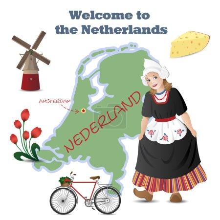 Illustration pour Ensemble vectoriel avec carte et symboles des Pays-Bas - image libre de droit