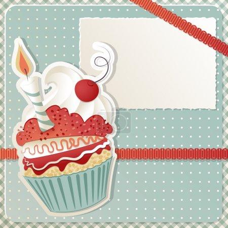 Photo pour Carte d'anniversaire avec espace drôle de petit gâteau et copie - image libre de droit