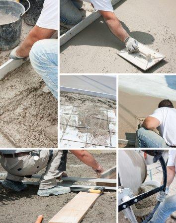 Foto de Mason construyendo un cemento capa subbase - Imagen libre de derechos