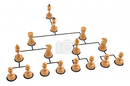 Photo for Organization chart with wooden chess pieces - Royalty Free Image