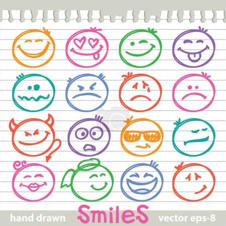 Illustration for Set of hand drawn smiles on realistic paper page - Royalty Free Image