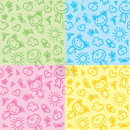 Illustration for Hand drawn seamless patterns with kids and summer symbols - Royalty Free Image