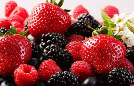 Photo for Mix from fresh berries on a table, a bilberry, a raspberry, a strawberry. - Royalty Free Image