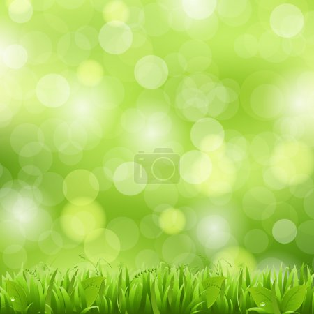 Illustration for Nature Background With Grass And Bokeh, Vector Illustration - Royalty Free Image