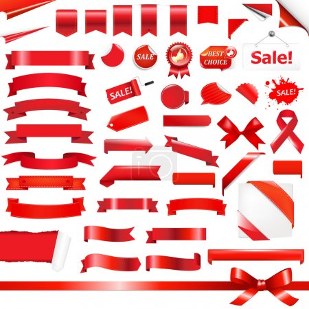 Photo for Big Red Ribbons Set, Isolated On White Background, Vector Illustration - Royalty Free Image