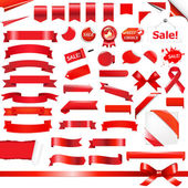 Big Red Ribbons Set Isolated On White Background Vector Illustration