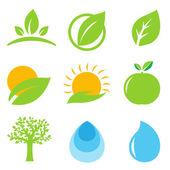 9 Eco Logo Isolated On White Background Vector Illustration