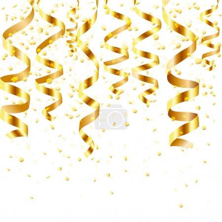 Illustration pour Gold Curling Stream, Isolé sur fond blanc, Illustration vectorielle - image libre de droit