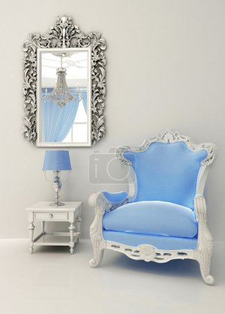 Baroque furniture in luxury interior apartment design