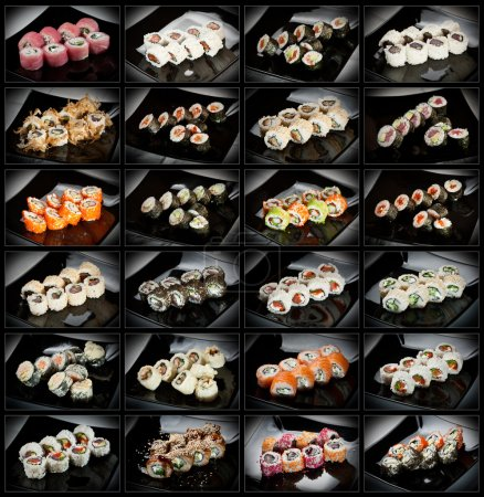 24 types of sushi rolls