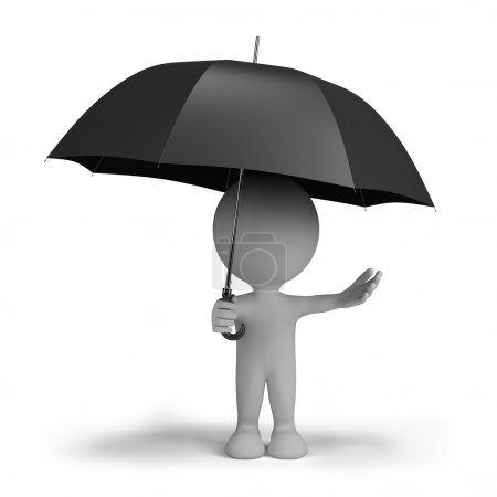 3d person with an umbrella