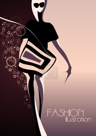 Abstract silhouette of a girl in fashion background.