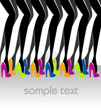 A lot of beautiful female legs in colorful shoes. Fashion illustration