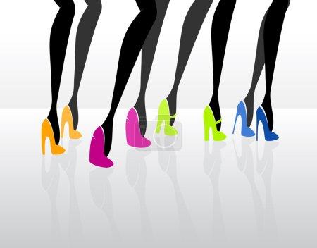 Women wearing elegant high heels. Vector illustrat...