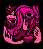 Abstract illustration of a female face in black & pink